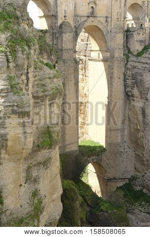 The New Bridge over the gorge in Ronda Andalusia Spain