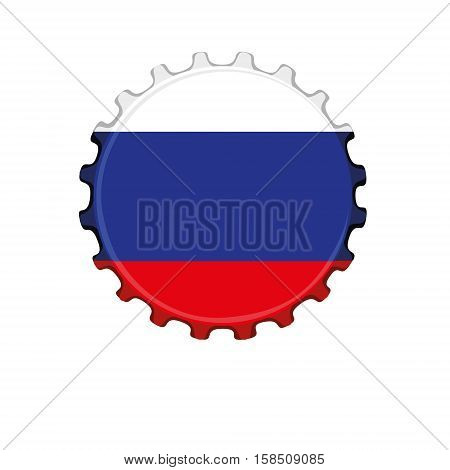 Russian flag on bottle cap isolated on white background