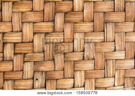 Closed up brown wooden wicker texture background