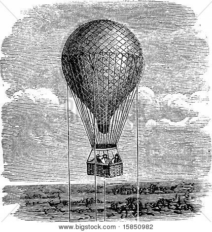Old Aerostat Or Hot Air Balloon Vintage Illustration.
