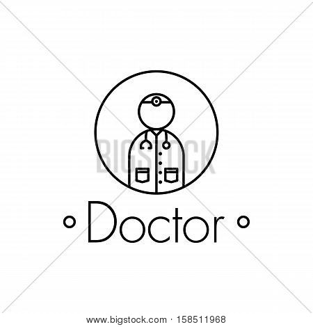 Doctor outline icon on white background .