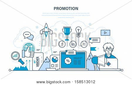 Progress in the work, business, success in the investment and of achieve its objectives, promotion in social network, discounts. Illustration thin line design of vector doodles, infographics elements.