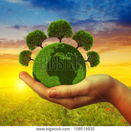Hand holding green planet with trees at sunset. Concept of environmental protection.