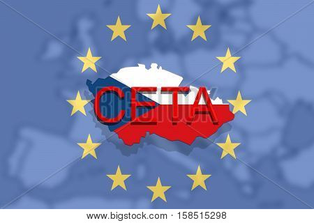 Ceta - Comprehensive Economic And Trade Agreement On   Euro Union And Czech Republic Map