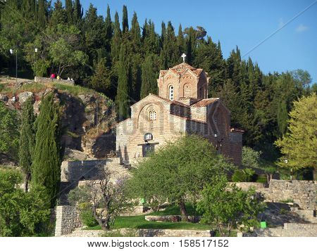 Church of St. John at Kaneo on the cliff view from Lake Ohrid, Republic of Macedonia