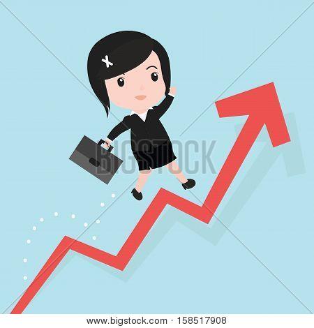 Business Woman Jump Over Growing Chart, Cartoon