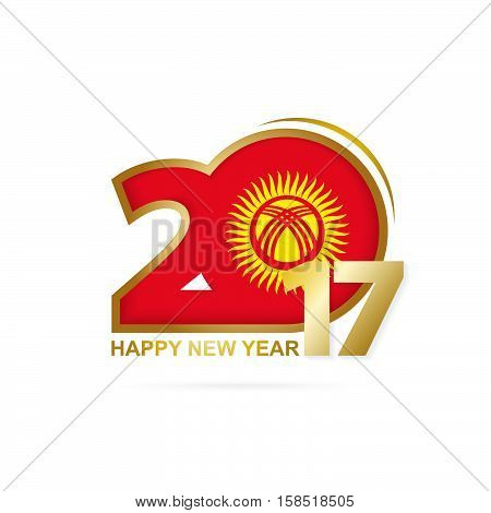 Year 2017 With Kyrgyzstan Flag Pattern. Happy New Year Design On White Background.