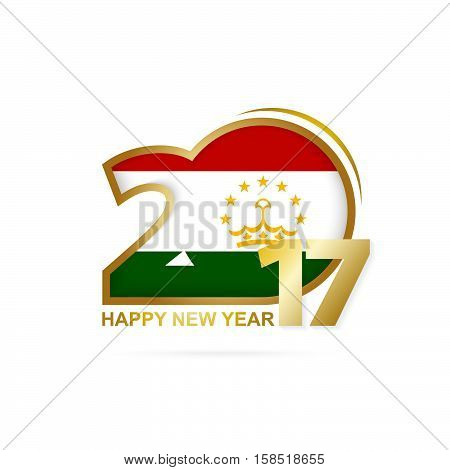 Year 2017 With Tajikistan Flag Pattern. Happy New Year Design On White Background.