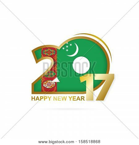 Year 2017 With Turkmenistan Flag Pattern. Happy New Year Design On White Background.
