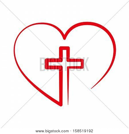 Heart with Christian cross inside. Vector illustration. Christian symbol.