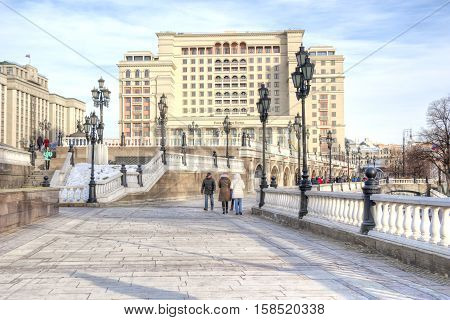 MOSCOW RUSSIA - November 20.2016: Manezhnaya Square in the historic center of the city next to the Alexander Garden and the Kremlin