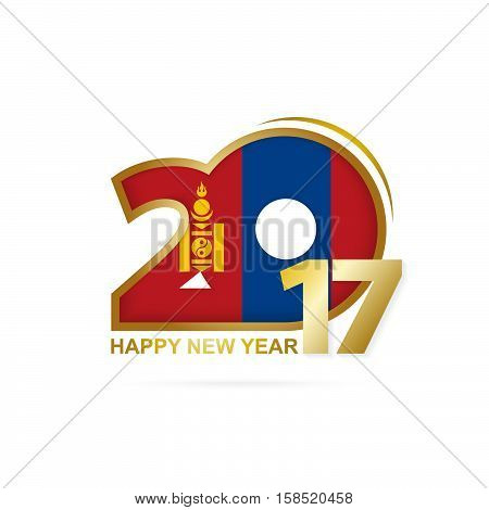 Year 2017 With Mongolia Flag Pattern. Happy New Year Design On White Background.