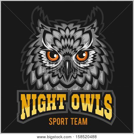 Night Owls - sport team. Head mascot on black