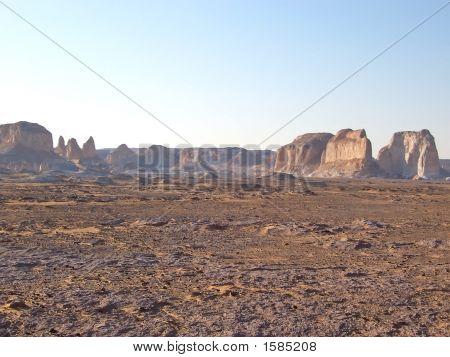 Moutains And Rocks In The Dry White Desert, Lybian Desert, Egypt