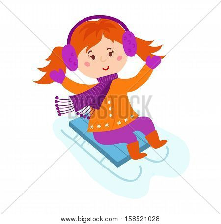 Christmas kid playing winter game. Sledding girl having fun time. Cute child playing sled. Cartoon New Year winter holiday vector character frozen ice.