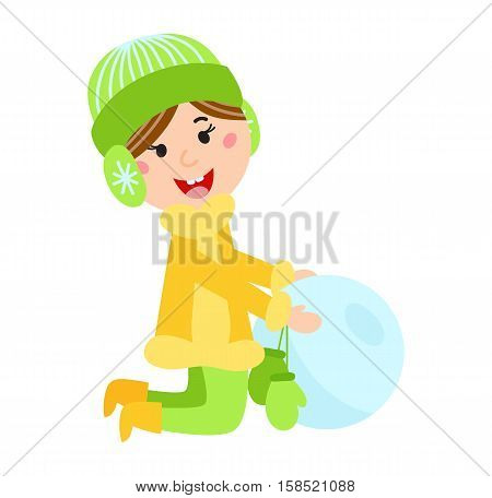 Christmas kid playing winter games. Little girl makes snow man, funny child playing snowballs. Cartoon New Year winter holidays vector snowman character.