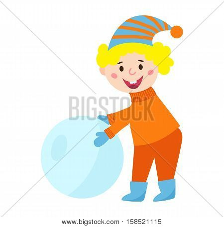 Christmas kid playing winter games. Little boy makes snow man, funny child playing snowballs. Cartoon New Year winter holidays vector snowman character.