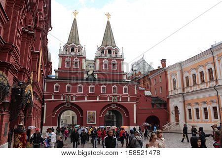 Russia, Moscow 22 May 2016, Resurrection (Iberian) gate in the Kremlin in Moscow