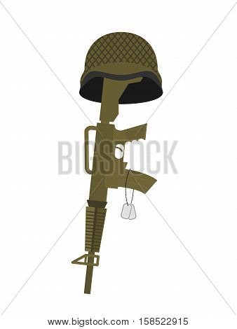 Grave Soldier. Helmet And Gun Instead Of Cross. Badge Army. War Tomb