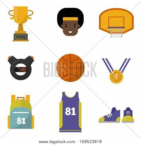 Simple basketball vector elements professional set. Game competition ball team recreation, running shoe and sports medal. Athletic court champion concept equipment.