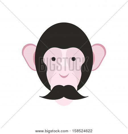 Monkey With Mustache. Chimpanzee Head. Primacy Of Person