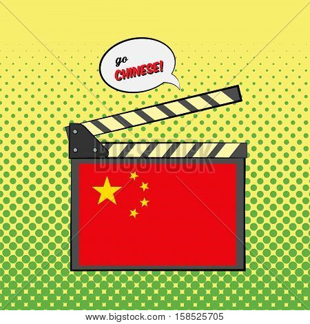 Concept of learning languages, study Chinese Language. Movie clapper board with pop-art style Chinese flag.