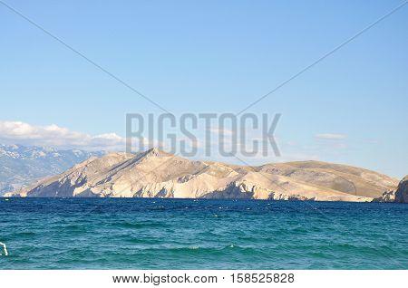 View from the island Krk seascape scene of croatian sea Croatia