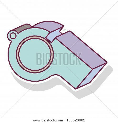 silhouette pastel color of whistle with shadow vector illustration