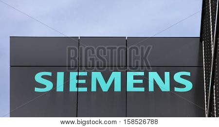 Wallisellen, Switzerland - 20 November, 2016: upper part of the Siemens office building. Siemens AG is a company headquartered in Berlin and Munich it is the largest engineering company in Europe.