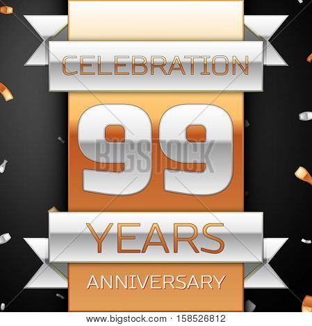 Ninety nine years anniversary celebration golden and silver background. Anniversary ribbon