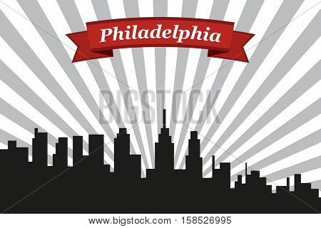 Philadelphia city skyline with rays background and ribbon