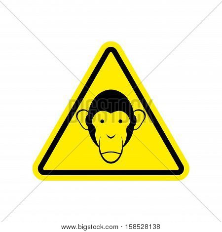 Monkey Warning Sign Yellow. Primacy Of Hazard Attention Symbol. Danger Road Sign Triangle Ape
