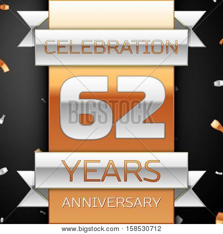 Sixty two years anniversary celebration golden and silver background. Anniversary ribbon