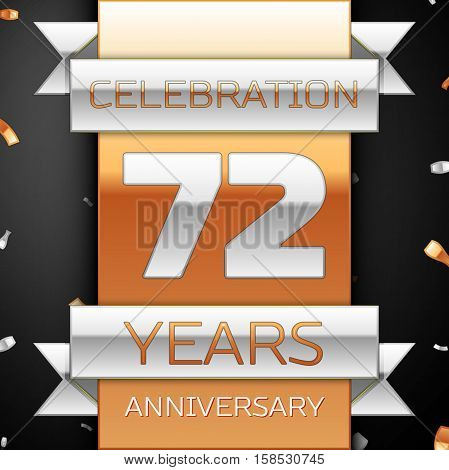 Seventy two years anniversary celebration golden and silver background. Anniversary ribbon