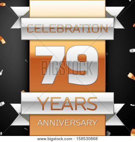 Seventy nine years anniversary celebration golden and silver background. Anniversary ribbon