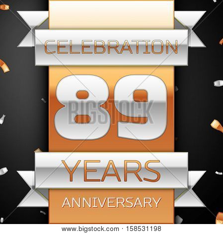 Eighty nine years anniversary celebration golden and silver background. Anniversary ribbon