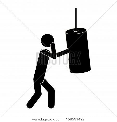 monochrome graphic man knocking bag weight vector illustration