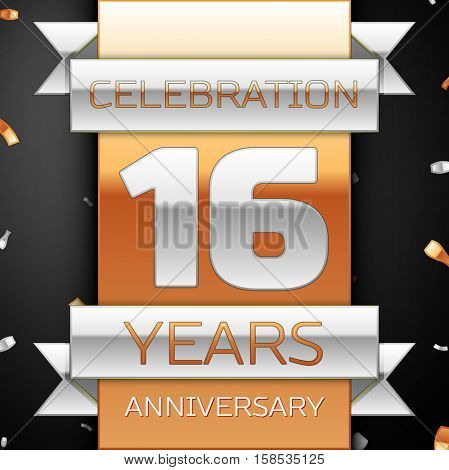 Sixteen years anniversary celebration golden and silver background. Anniversary ribbon
