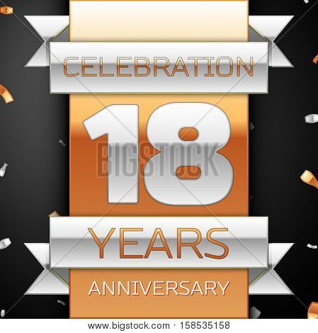 Eighteen years anniversary celebration golden and silver background. Anniversary ribbon