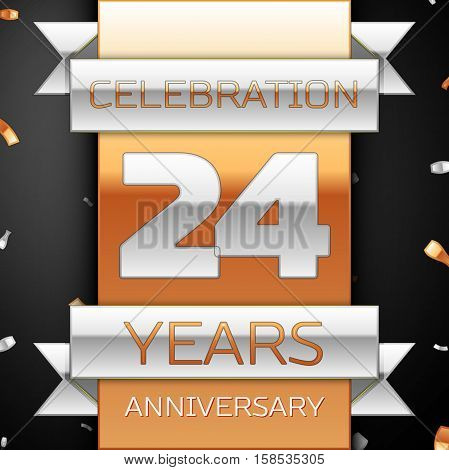 Twenty four years anniversary celebration golden and silver background. Anniversary ribbon