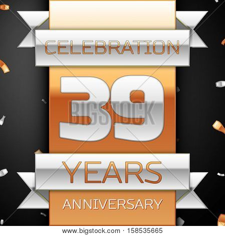 Thirty nine years anniversary celebration golden and silver background. Anniversary ribbon