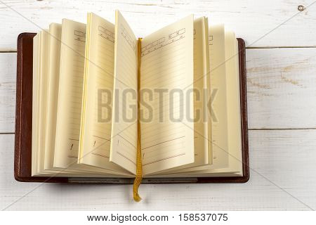 Close-up of open book. Copy space for text.