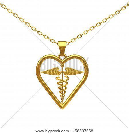 Golden Medical Caduceus Symbol Medallion on a white background. 3d Rendering