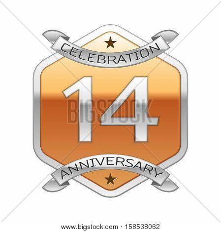 Fourteen years anniversary celebration silver logo with silver ribbon and golden hexagonal ornament on white background.