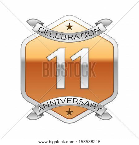 Eleven years anniversary celebration silver logo with silver ribbon and golden hexagonal ornament on white background.