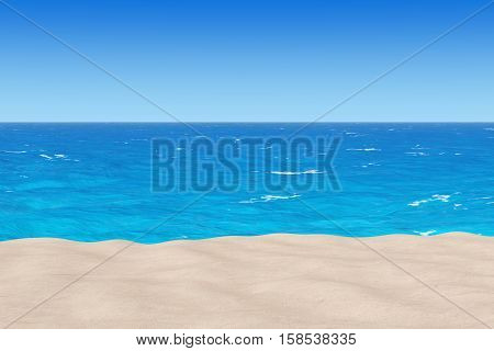 Sand Sunny Tropical beach with Ocean and a Lot of Copy Space extreme closeup. 3d Rendering