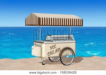 Ice Cream Cart on the Sand Sunny Beach extreme closeup. 3d Rendering