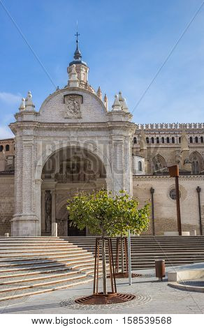 Entrance Of The Cathedral In Tarazona