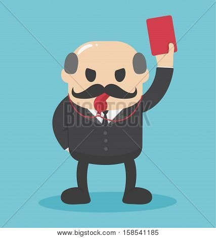 Concept Bald businessman hand showing red card