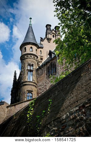 The corner tower of the ancient castle of the 12th century Wernigerode, in the heart of Germany.
